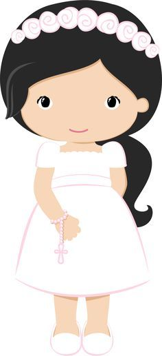 Nice Girls in Pink for their First Communion. This images will help you for doing decorations, invitations, toppers, cards and any. Cute Clipart, First Holy Communion, Cute Images, Kirchen, Christening, Paper Dolls, Diy And Crafts, Preschool, Projects To Try
