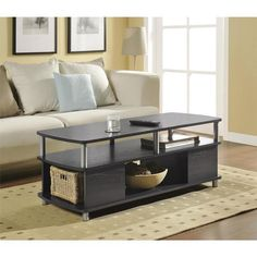 Contemporary Coffee Table Modern Storage Living Room Furniture Open Cabinets   #Altra