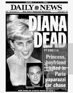 Daily News front page dated August 31 Headlines: DIANA DEAD , Princess. boyfriend killed in Paris paparazzi car chase , Princess Diana and Dodi Al-Fayed Get premium, high resolution news photos at Getty Images Princess Diana And Dodi, Princess Diana Death, Princess Diana Photos, Princes Diana, Lady Diana, Dodi Al Fayed, Newspaper Front Pages, Newspaper Headlines, Daily News Newspaper