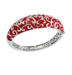 Royal Red Bangle | If a little black dress is a must in your wardrobe, then the Royale Collection is a must in your jewelry box. Exquisite enameling, sumptuous sterling silver, and magnificent bezel-set stones signify status and unparalleled class. This truly timeless collection is one of Belle Etoile's all-time favorites, and we know it will be one of yours, as well.