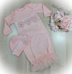 Newborn Girl Coming Home Outfit, Newborn Girl Gown, Pink Coming Home Outfit, Baby Girl Take Home Outfit Girls Coming Home Outfit, Take Home Outfit, Gowns For Girls, Pink Gowns, Ruffle Romper, Baby Girl Fashion, Girl Outfits, Diy Baby, Satin Flowers