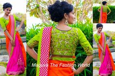 model beautiful in pink and orange half and half saree designed by varuna jitesh.paired with pink stripes border followed by green plain patch green silk blouse embellished with all over embroidery work for blouse back with quarter sleeves round neck blouse.