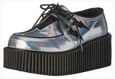 Demonia Women's Cre218/Shg-Bvl Fashion Sneaker, Slv Hologram-Black Vegan Leather, 6 M US (*Partner Link)