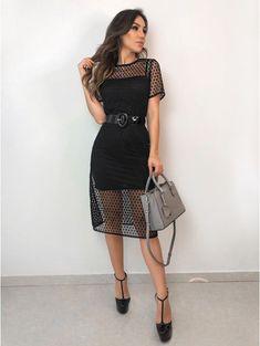 Pin on Vestidos lindos Lovely Dresses, Elegant Dresses, Casual Dresses, Fashion Dresses, Short Sleeve Dresses, Black Dress Outfits, Classy Outfits, Dress Black, Sequin Party Dress
