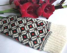 Hand stricken Handschuhe Wolle Handschuhe von Latvianmittensshop