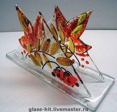 Fall Foliage Fused Glass Napkin Holder Stained Glass Flowers, Faux Stained Glass, Stained Glass Designs, Stained Glass Panels, Stained Glass Projects, Fused Glass Art, Stained Glass Patterns, Mosaic Glass, Painting On Glass Windows