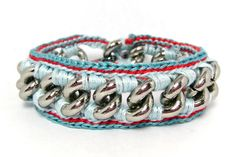 Rock Star Bracelet- Designer Bracelet with Chain and Thread - Light Blue with Red Accent