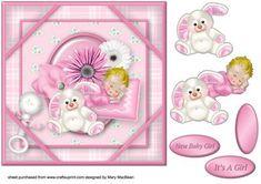 Hush Little Baby Corner Frame Card Pink on Craftsuprint - Add To Basket!