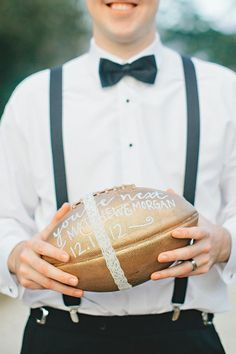 A rugby ball instead of a football for the garter toss! tip: offer a bottle of crown to the man who catches it. the garter toss isn't usually as popular as the wedding bouquet toss, but a little incentive might make it a hit Wedding Pics, Wedding Trends, Fall Wedding, Our Wedding, Dream Wedding, Wedding Dresses, Wedding Stuff, Fantasy Wedding, Wedding Season