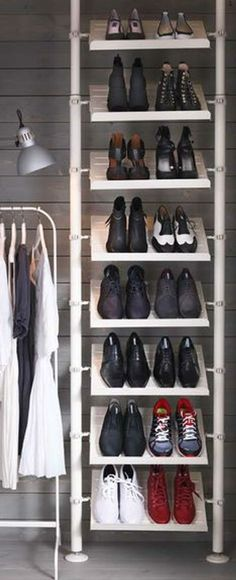 IKEA bedroom storage - Organize your messy pile of shoes into neat rows with a floor-to-ceiling shoe rack made with the STOLMEN system. For the shoes in the walk in closet Ikea Bedroom Storage, Entryway Shoe Storage, Ikea Storage, Closet Bedroom, Closet Storage, Storage Shelves, Storage Ideas, Entryway Ideas, Storage Boxes