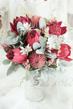 Kimberley - Bride's bouquet of Australian natives. Banksias, waratahs, proteas, kangaroo paw and flannel flowers.