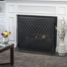 Shop for Ellias Single Panel Fireplace Screen by Christopher Knight Home. Get free delivery On EVERYTHING* Overstock - Your Online Home Decor Outlet Store! Fireplace Screens, Brick Fireplace, Living Room With Fireplace, Fireplace Design, Fireplace Candles, Simple Fireplace, Wood Mantle, Fireplace Shelves, Fireplace Cover