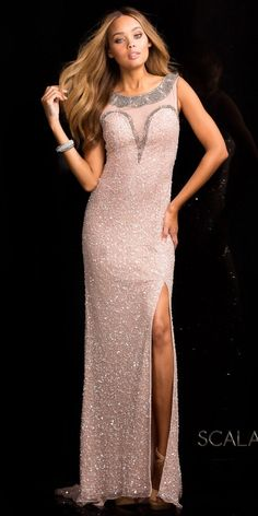 Illusion Beaded Scallop Sequin Prom Dress by Scala #edressme