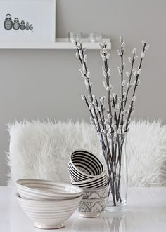 At Maria's: Astioita ja alennuskoodia Easter Table Decorations, Black And White Design, Pretty Black, Cute Bunny, Easter Ideas, Soft Colors, Happy Easter, My Dream Home, Dresser