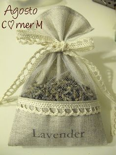 Pretty lavender sachet using left over fabric from chair decoration during wedding Burlap Crafts, Fabric Crafts, Sewing Crafts, Diy And Crafts, Sewing Projects, Lavender Crafts, Lavender Bags, Lavender Sachets, Sachet Bags