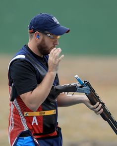 #RIO2016 Vincent Hancock of the United States shoots in a training session prior to the start of the Rio 2016 Olympic Games at the Olympic Shooting Centre on...