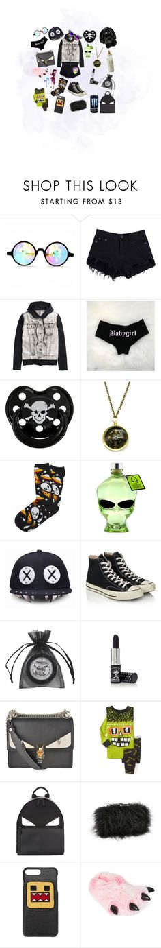 """""""Looking through the looking glass"""" by rainythedarklord ❤ liked on Polyvore featuring Jellycat, Rock Star Baby, Zara Taylor, Vans, Outerspace, Converse, Manic Panic NYC, Fendi, Sondra Roberts and Les Petits Joueurs"""