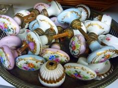 Collection of Porcelain Knobs Door Knobs And Knockers, Knobs And Handles, Knobs And Pulls, Door Handles, Door Pulls, Drawer Knobs, Drawer Pulls, Vintage Love, Vintage Decor