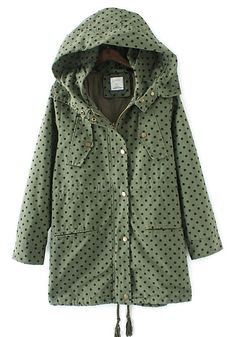 Army Green Polka Dot Trench #fall #must