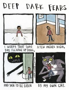 A fear submitted by Leon to Deep Dark Fears - thanks! You can find my Deep Dark Fears online and wherever books are sold! Scary Creepy Stories, Creepy Facts, Fear Book, Deep Dark Fears, Scary Photos, Dark Comics, Nothing To Fear, Funny Illustration, Illustrations