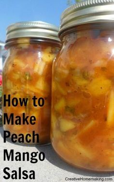 Easy recipe for making and canning spicy peach mango salsa.