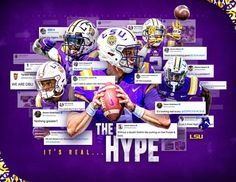 Creative Advertising, Advertising Design, College Football Recruiting, Lsu College, Sports Graphic Design, Sport Design, Sports Marketing, Football Design, Sports Graphics