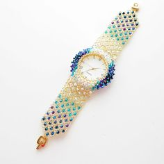 watches for womens, Unique Gift Swarovski Crystal Blue bracelet Ladies Handmade Beaded Statement Bohemian montre femme watch, Korean Jewelry - Bracelets - Maria Susan