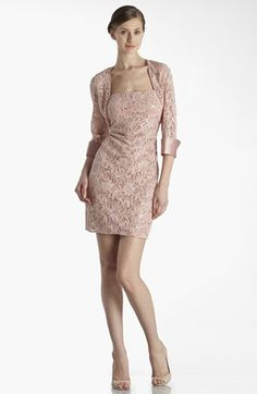 this was very pretty I tried it on in the pink.   JS Collections Embellished Lace Dress & Jacket available at #Nordstrom