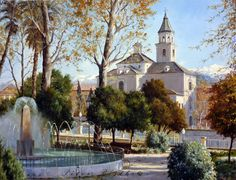 PINTURA PÉTER BOJTHE Granada, Spanish Colonial, Andalucia, Watercolour Painting, Mansions, House Styles, Art Paintings, Photograph, Artists