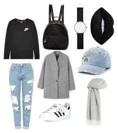 """Basic outfit"" by clanewi ❤ liked on Polyvore featuring Topshop, STELLA McCARTNEY, adidas, SO, Daniel Wellington, Agnona, MANGO and NIKE"