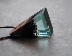 Resin Wood Necklace Blue Triangle Pendant Resin Necklace