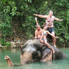 Sexy Woman riding bareback barefoot in bikini on an Elephant in the Jungle/Sexy Frau reitet sattelos barfuß im bikini auf einem Elefant im Dschungel . #SwimmingWithElephants and the #mammoth  #kohChang #Thailand