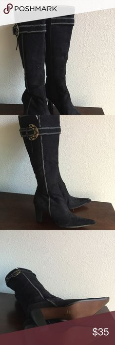 FAUX SUEDE BOOTS BRAND NEW (NEVER WORN) 4INCH HEELS..‼️‼️(JACKET FOR SALE SEPARATELY )‼️‼️ Shoes Heeled Boots