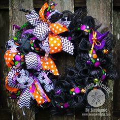 Halloween Deco Mesh Wreath Spiders Deco by BeachWreathsnThings