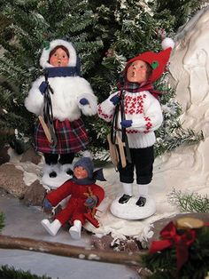 Kids Holding Skates Boy Byers Choice Carolers New for 2014 Snow Day Fun Collection