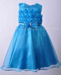 Vestido Infantil para festa azul modelo luxo. Confira outros looks na loja online: http://anagiovanna.com.br/produtos/1/vestidos-infantil/2/festas