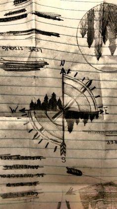 Hand drawn compass tattoo idea