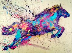 pegasus colourful modern painting contemporary art mixed media over canvas - IG @gabewong1