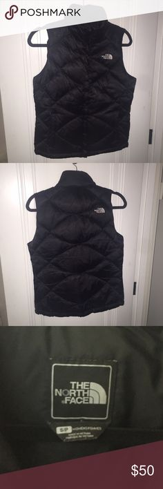 The North Face black puffy vest In perfect condition, this staple is great over sweaters or sweatshirts or even plain t shirts for the colder weather. I still love this I'm just getting rid of it because I am moving! Pockets are fleeced lined. North Face Jackets & Coats Vests