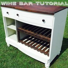 Upcycle an old dresser into a cool wine bar. Great DIY project to change up the decor in your home!