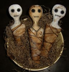 Set of 3 Voodoo Doll Halloween Primitive Handmade Bowl by pasha13, $25.00