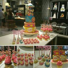 Carosello cake. Sweet Table with macarons, cupcakes and cakepops