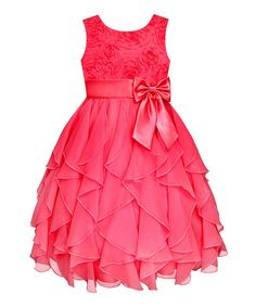 Coral Rosette Ruffle Dress - Infant, Toddler & Girls #zulily #ad *pretty