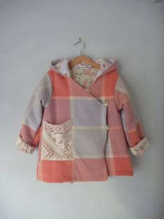 children clothing, girls eskimo jacket in rockmelon and lilac check size 6. $75.00, via Etsy.