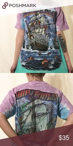 Greatful Dead Greatful dead short sleeve tshirt, light blue and purple tie dye.  Ship of Fools.. skeletons roses fish and singing Tops Tees - Short Sleeve