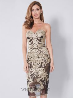 Mamita Dress. A stunning midi dress by Jadore. A fitted strapless style featuring a gold lace applique.