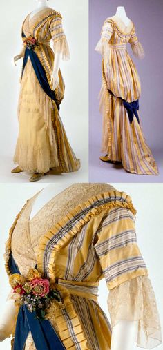 House of Drécoll, silk, 1912 -- Fascinating influence interpreted through the early Teens aesthetic. Fabric, styling, even the trim. Edwardian Clothing, Edwardian Dress, Antique Clothing, Edwardian Fashion, Vintage Fashion, Edwardian Era, Robes Vintage, Vintage Dresses, Vintage Outfits