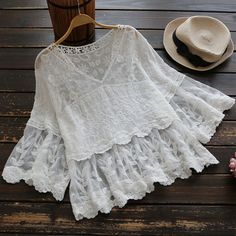 Spring Summer Mori Girl Lace Shirt Women's Perspective White Floral Embroidered V Neck Casual Loose Female Vestido Shirts U507 #Affiliate