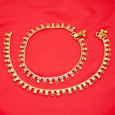 Pakistani Indian Gold Plated Bridal Payal Anklet Pair with Soft Bells For Women Ethnic Jewelry