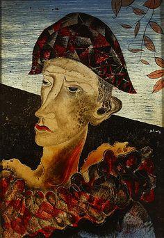 Floris Jespers (Belgian, 1889-1965), Harlequin. Reverse glass painting
